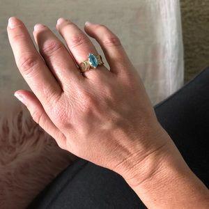 Jewelry - Blue topaz and diamond ring
